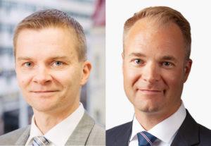 Asianajajat Petri Nevalainen ja Jukka Tanhuanpää työskentelevät päivittäin yritysten sopimusasioiden parissa.