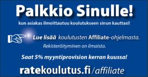 Affiliate - Ratekoulutus yhteistyökumppanuus - myyntiprovisio
